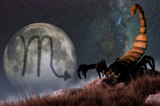 Moon and Scorpio symbol of scorpion