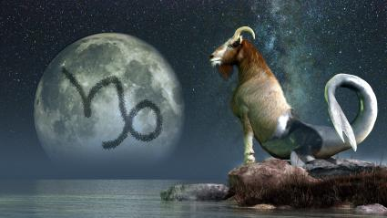 Capricorn goat glyph and moon