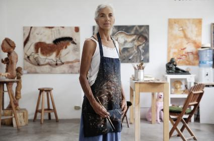 Woman artist in studio