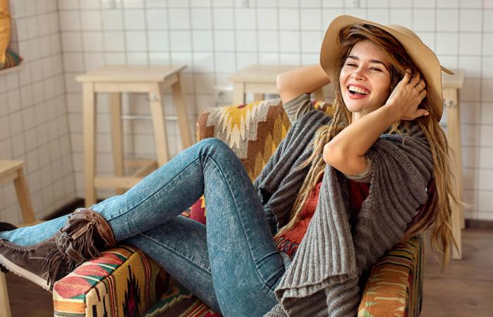 girl in hat laughing
