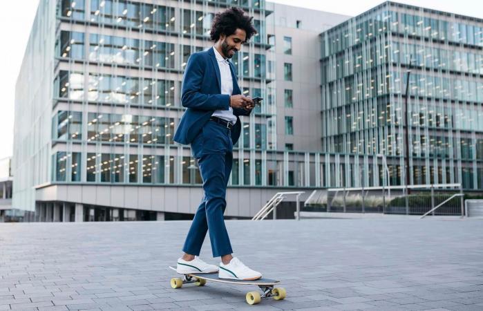 busy man on skateboard