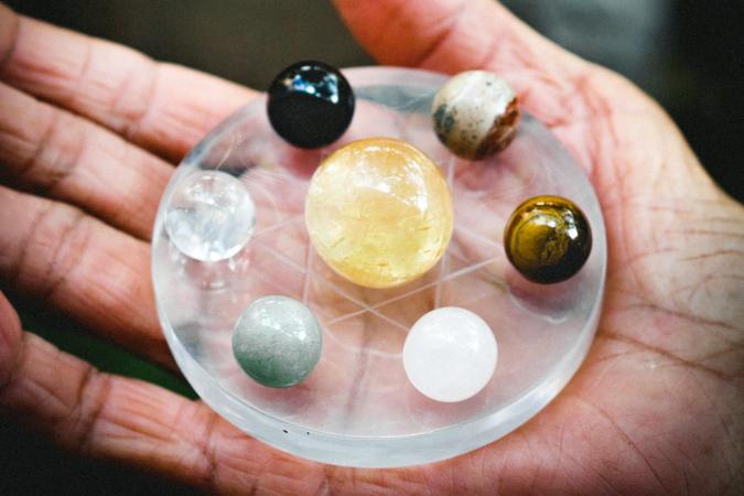 Hand Holding Gemstones