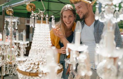 couple on an antique flea market