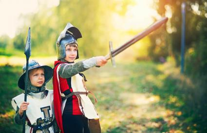 Kids dressed up as knights
