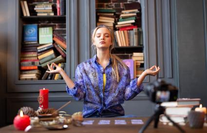 psychic woman sitting peaceful