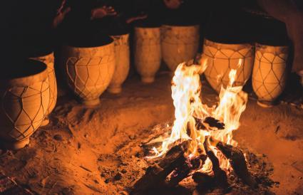 drums next to a bonfire