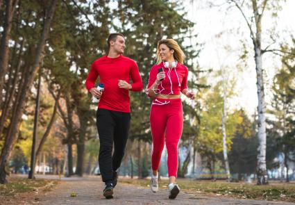 Sport couple running together