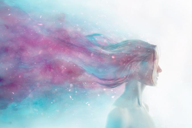 Woman merged with cosmos