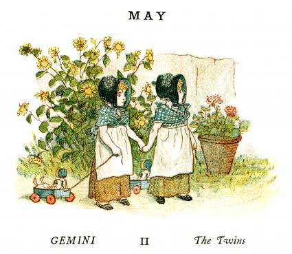 Kate Greenaway Almanack for 1884, an illustration for the month of May