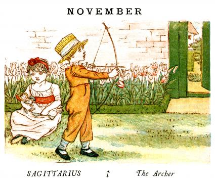 Kate Greenaway Almanack for 1884, an illustration for the month of November