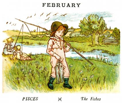 Kate Greenaway Almanack for 1884, an illustration for the month of February