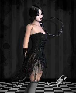 Mujer escorpio de negro