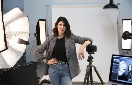 Fotografa trabajando