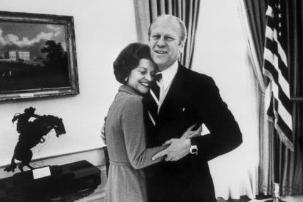Late US Presidents Gerald Ford hugging his wife Betty at the White House