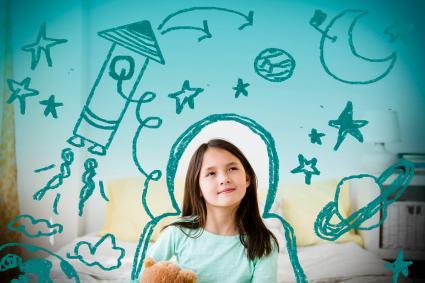 niño acuario soñando con imagenes espaciales