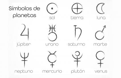 Símbolos astrológicos de los planetas