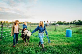 women walking miniature horse
