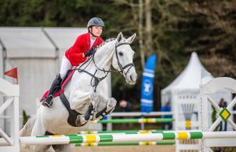 Female horseback rider jumping over hurdle
