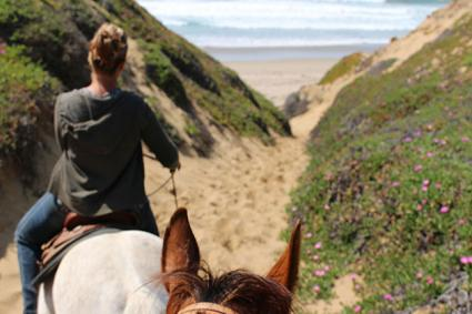 Riding a horse at Montana de Oro State Park