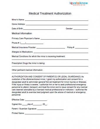 Medical Release Form for Minor