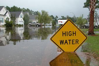 High water flood in neighborhood