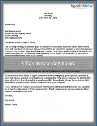 sample letter homeowner's coverage