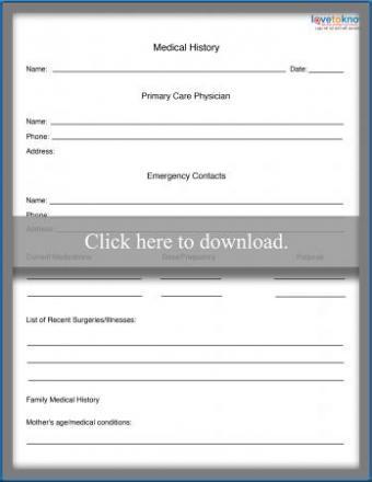 Printable Medical Record Form