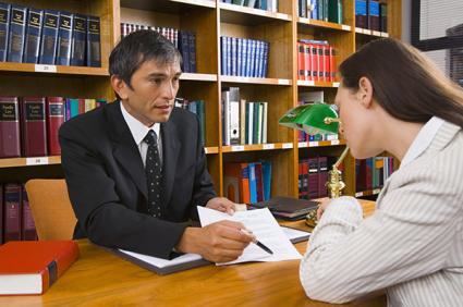 Woman meeting with a lawyer