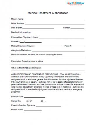 Medical release form for minor lovetoknow for Medication consent form template