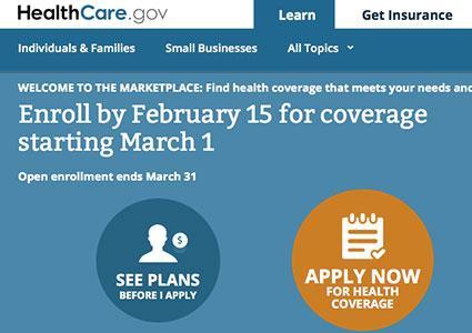 Screenshot of healthcare.gov home page