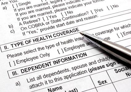 Employee health coverage application