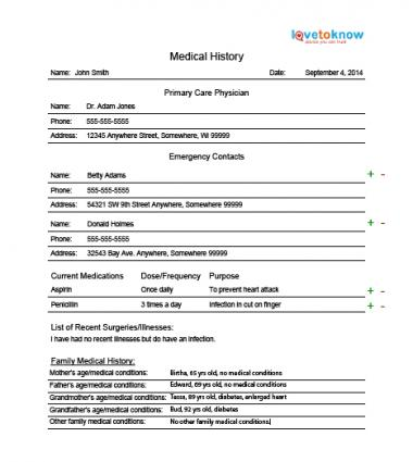 Printable Medical Record Form