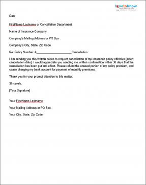 Sample insurance cancellation letter lovetoknow for Refund cancellation policy template