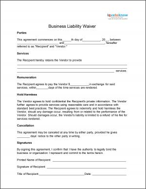 Business Liability Waiver  Free Printable Liability Release Form