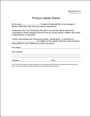 Product Liability Waiver  General Waiver Liability Form