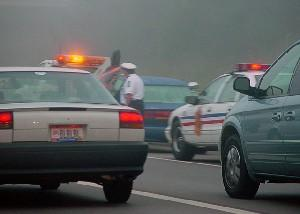 Automobile fender bender in fog and heavy traffic