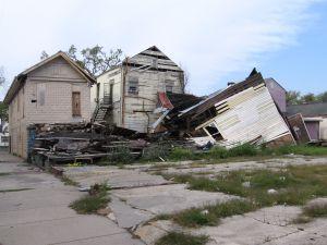 Row of damaged homes