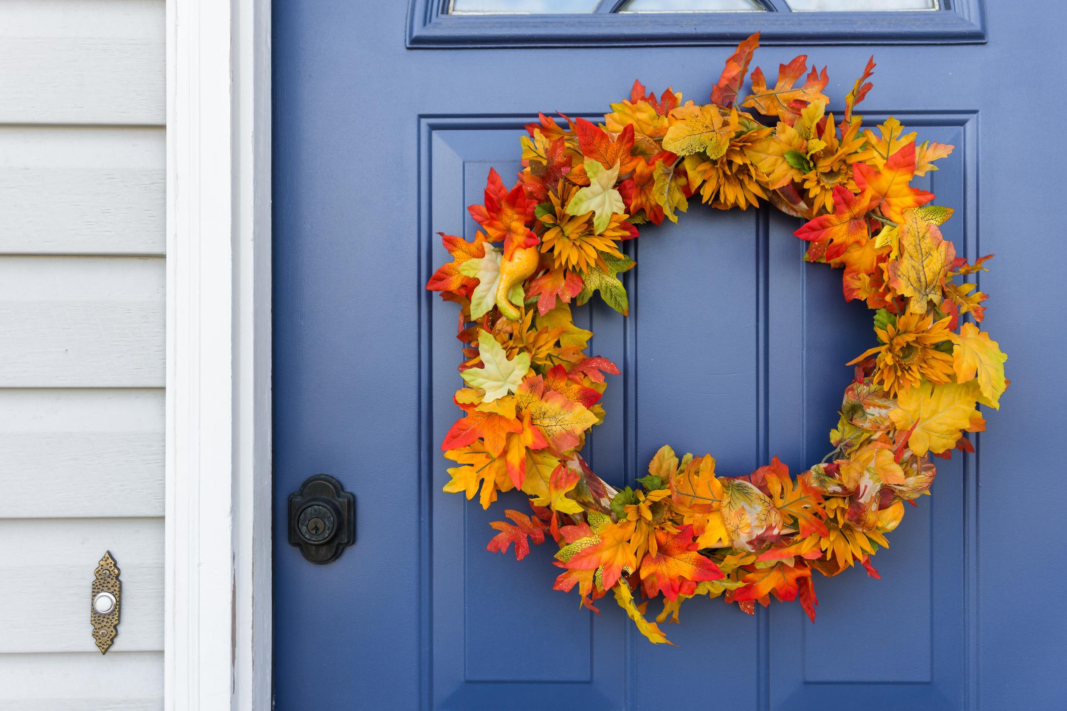 Home Decor Big Sales Door Wreath Summer Artificial Tulip Front Door Wreath with Leaves Front Door Wall Decor