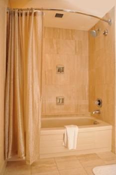 "Polished Chrome Adjustable Bathroom Curved Shower Curtain Rod 60/"" to 72/"""