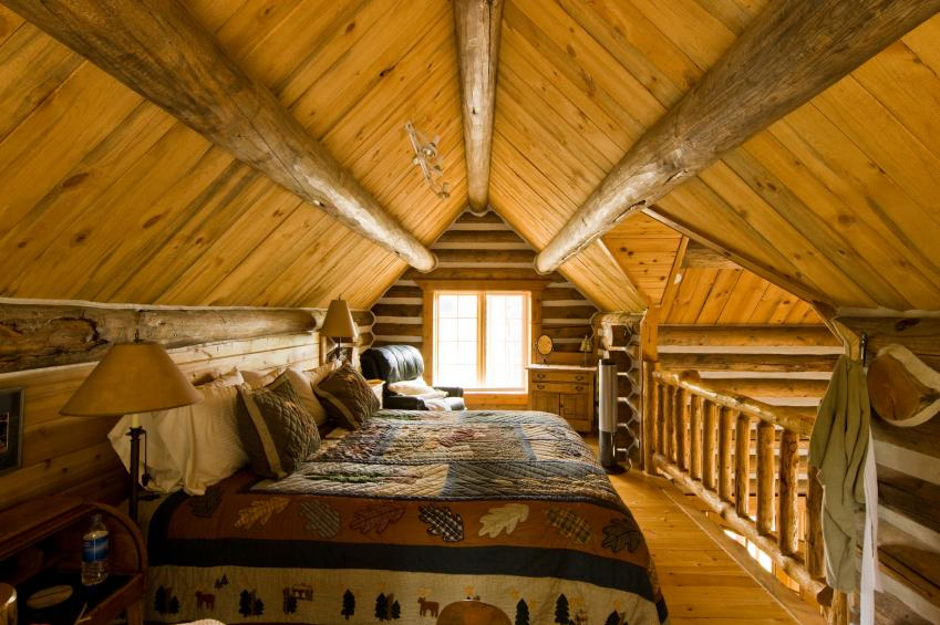 Rustic Bedroom With Exposed Beam Ceiling Source Romantic