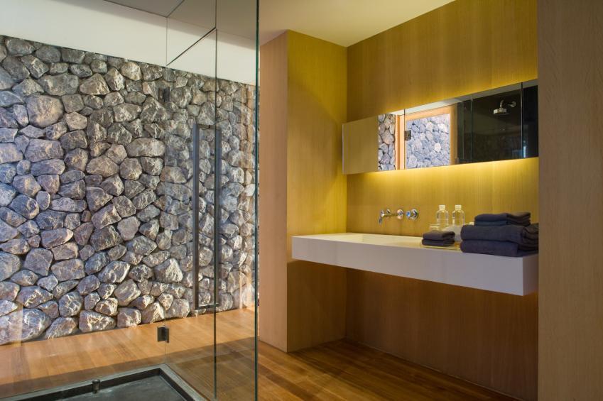 Bathroom With Rock Wall