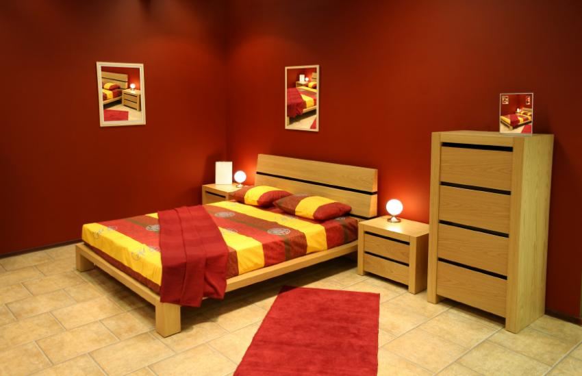 red bedroom - Bathroom In Bedroom Design