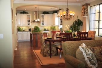 Open room with French Country style fabrics