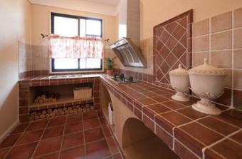Adobe colored kitchen