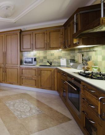 Warm green kitchen