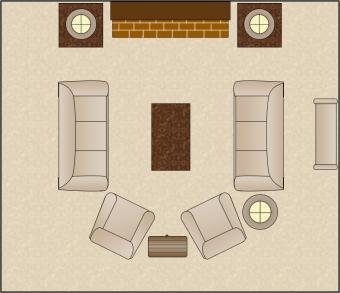 symmetrical living room arrangement