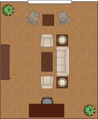 living room arrangement divided