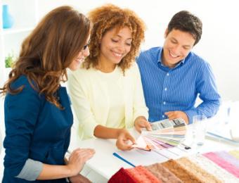 interior designer with clients