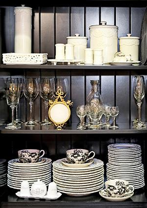 Dishes in china cabinet
