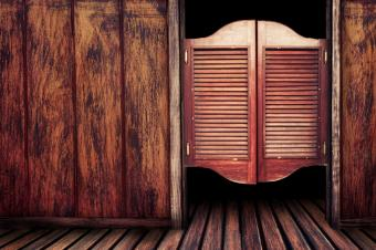 rustic flooring, walls and saloon doors